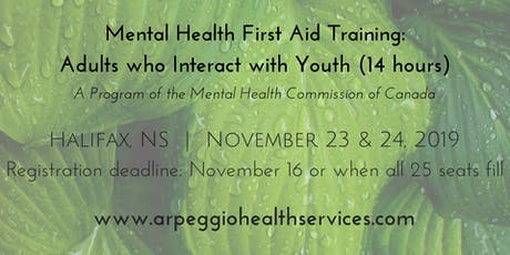 Mental Health First Aid Training: YOUTH - Halifax, NS - Nov. 23 & 24, 2019 tickets