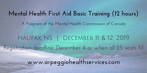 Mental Health First Aid Basic Training - Halifax, NS - Dec. 11 & 12, 2019