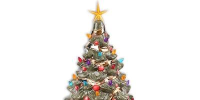 "DIY 14"" Vintage LIGHT UP Ceramic Christmas Tree"