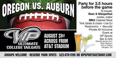 Fun Town RV Present the Official VIP Oregon v Auburn Tailgate Party 8-31-19