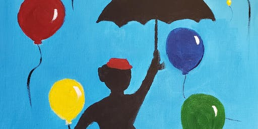 Brunch & Paint - Lady with Umbrella ( Level 2- stencil provided)