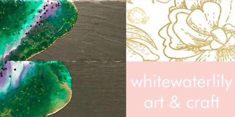 #imadeitmyself  -  Resin slate platters  with White Waterlilly  tickets