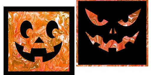 YOUR CHOICE - Pumpkin Pour Paintings -  Paint Create and Sip Party Art Maker Class