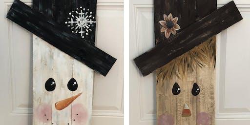 2 sided wooden pallet snowman scarecrow - Creative Paint & Sip Maker Class