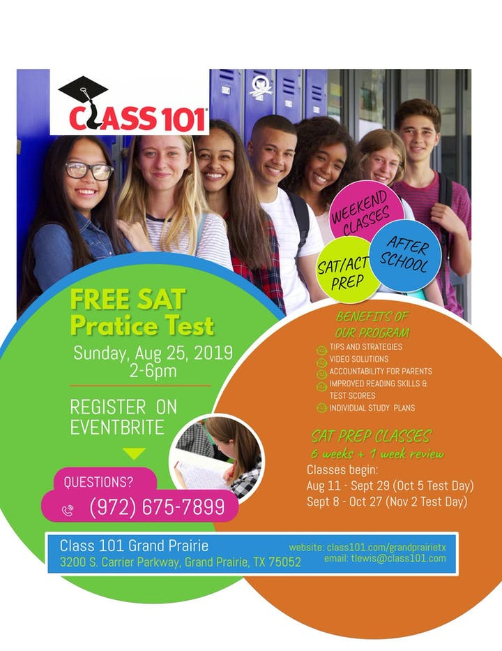Class 101 - SAT Practice Test Tickets, Sun, Aug 25, 2019 at 2:00 PM