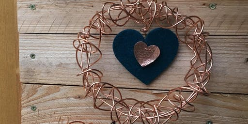 Copper wire wreath making