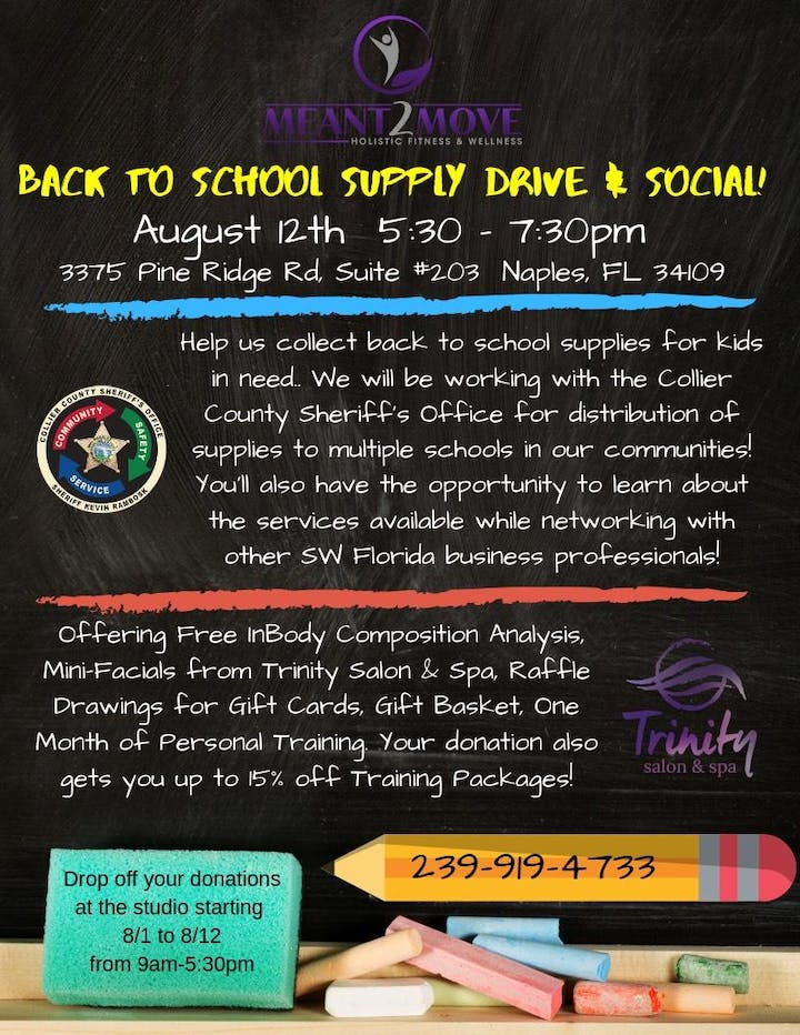 Meant2Move Back to School Supply Drive & Social Tickets, Mon, Aug 12