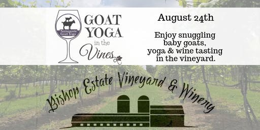 Goat Yoga in the Vines: Namaaaste Goat Yoga 11:30am hosted by Bishop Estate Vineyard & Winery