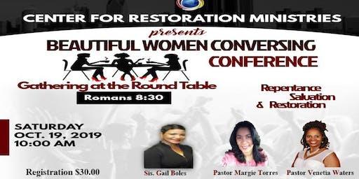 Beautiful Women Conversing Conference