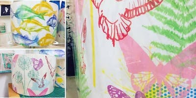 Screen printing into lampshades workshop