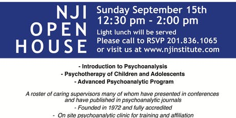 The New Jersey Institute for Training in Psychoanalysis - Fall Open House tickets
