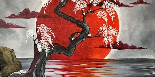 Japanese Crimson Moon Saturday Night Paint Party