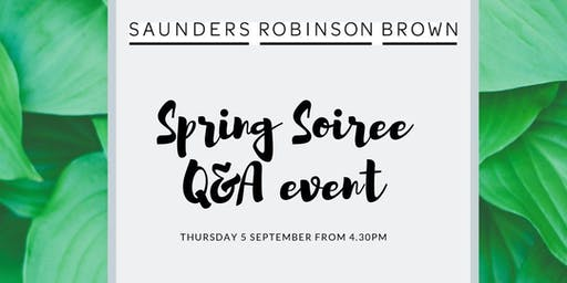 Saunders Robinson Brown Spring Soiree: Q&A event over drinks & nibbles