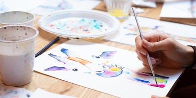 Children's Watercolour Class for Handmade Canberra VIP\