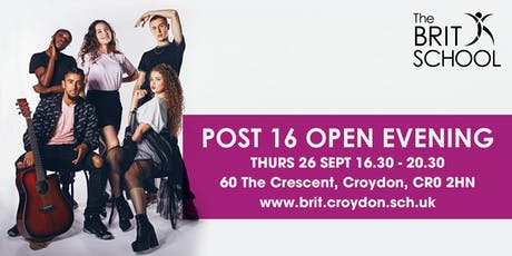 The BRIT School Post 16 Open Evening 2019 tickets