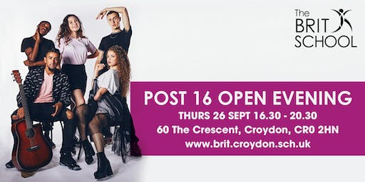 The BRIT School Post 16 Open Evening 2019