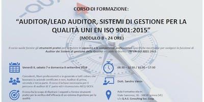 CORSO AUDITOR SISTEMI DI GESTIONE QUALITÀ UNI EN ISO 9001:2015