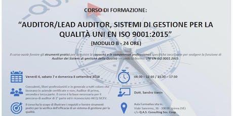 CORSO AUDITOR SISTEMI DI GESTIONE QUALITÀ UNI EN ISO 9001:2015 biglietti