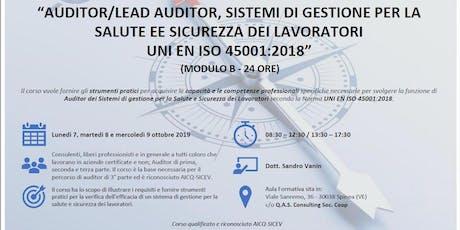 Copia di CORSO AUDITOR SISTEMI DI GESTIONE SALUTE e SICUREZZA ISO 45001 biglietti