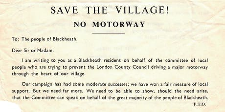Road Rage! 50 years of plans to build motorways through Blackheath tickets