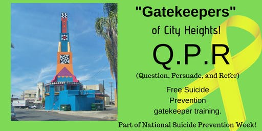Free QPR Suicide Prevention Gatekeeper Training in City Heights!