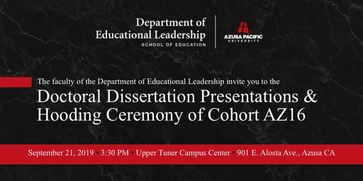AZ16 Dissertation Presentation and Hooding Ceremony