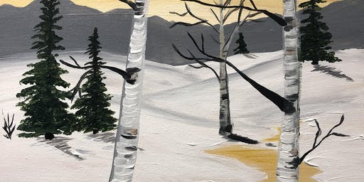 Winter river paint night Banff