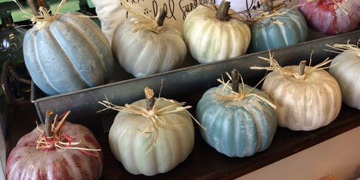 Chalk  Painted Pumpkins w/ tobacco basket