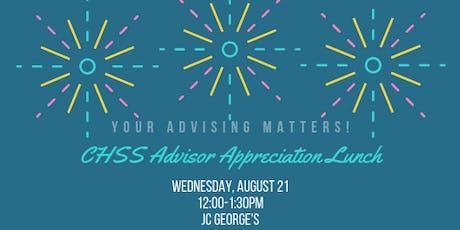CHSS Advisor Appreciation Lunch tickets