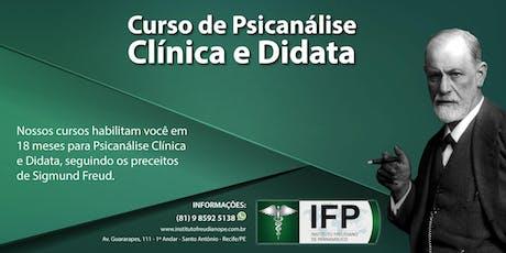 CURSO DE FORMAÇÃO EM PSICANÁLISE CLÍNICA E DIDATA ingressos