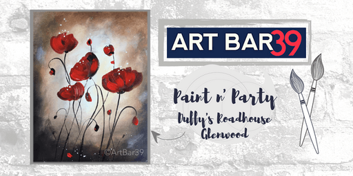 Glenwood Public Paint & Sip | ART BAR 39 & Duffy's | Red Poppies