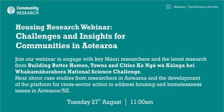 Housing Research: Challenges and Insights for Communities in Aotearoa tickets