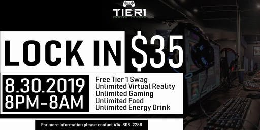 Tier 1 Gaming Lounge All Night Lock-In August 30th