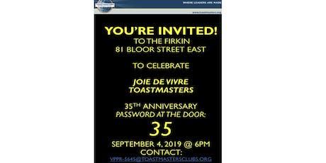 Toronto Joie de Vivre Toastmasters 35th Anniversary tickets