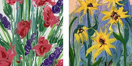Fluid Pour Sunflower Painting Art Paint Maker Party Sip & Create Class