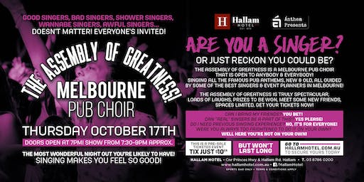 The Assembly of Greatness - Melb Pub Choir LIVE at The Hallam Hotel!