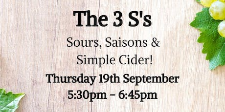 Sours, Saison & Simple Cider Tasting tickets