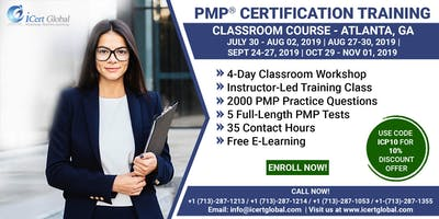 PMP® Exam Prep Training and Certification in Atlanta, GA, USA| 4-day PMP BootCamp with Membershipfee included.