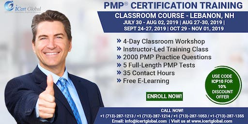 PMP® Exam Prep Training and Certification in Lebanon, NH | 4-day PMP BootCamp with Membershipfee included.
