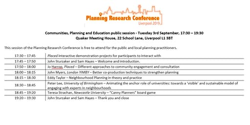 Communities, Planning and Education - a free session as part of PRC 2019