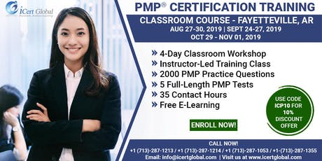 PMP® Certification Training In Fayetteville, AR, USA | 4-Day (PMP) BootCamp With Membership Included. tickets