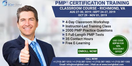 PMP® Certification Training In Richmond, VA, USA | 4-Day (PMP) BootCamp With Membership Included. tickets