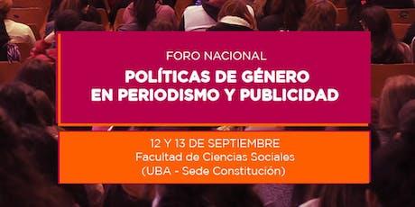 Foro Nacional de Políticas de Género en Periodismo y Publicidad entradas