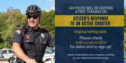 Citizen's Response to Active Shooter Event Training  - September 18 at 10am