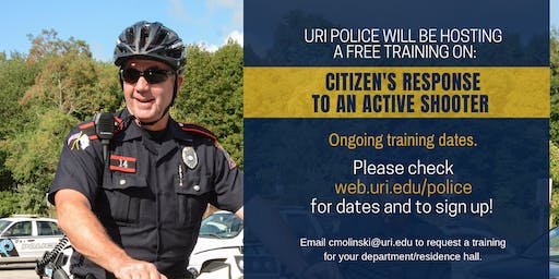 Citizen's Response to Active Shooter Event Training  - September 25th at 1pm