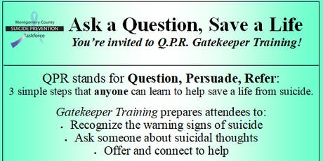 Question, Persuade, Refer (Q.P.R.) Suicide Prevention Training tickets