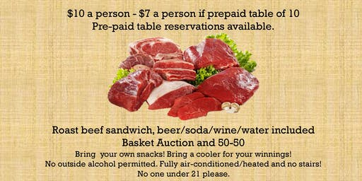 AYF Reserved Table of 10 for 4th Annual Meat Raffle