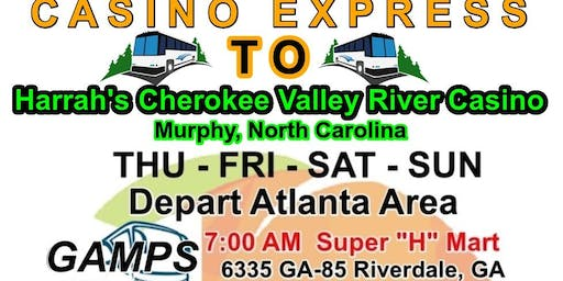 Casino Booking Charter Bus to Harrah's Cherokee River Valley Casino, Murphy, NC