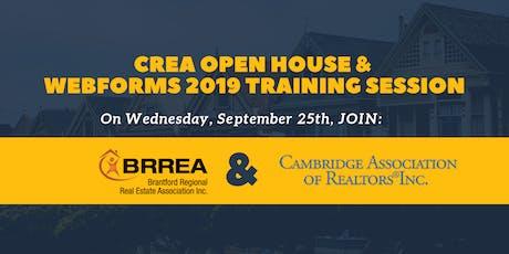 CREA Open House & WebForms 2019 Training tickets