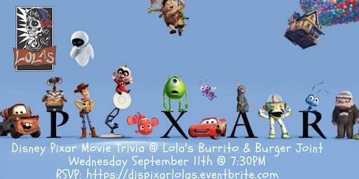Disney Pixar Movie Trivia at Lola's Burrito & Burger Joint